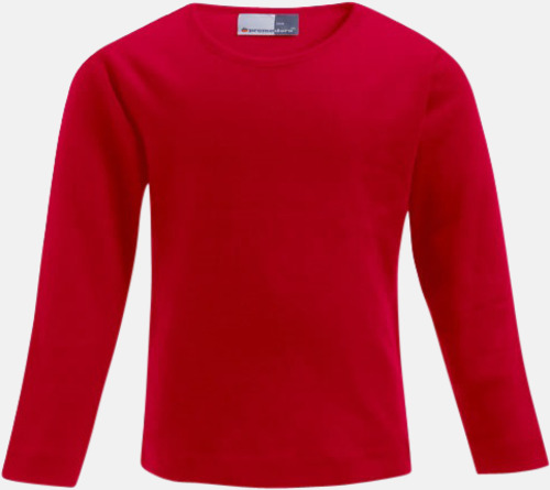 Fire Red Långärmade t-shirts i barnstorlekar med reklamtryck