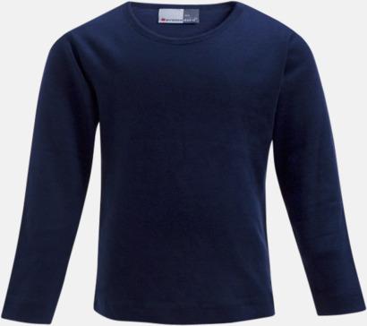 Marinblå Långärmade t-shirts i barnstorlekar med reklamtryck
