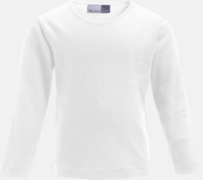 Vit Långärmade t-shirts i barnstorlekar med reklamtryck