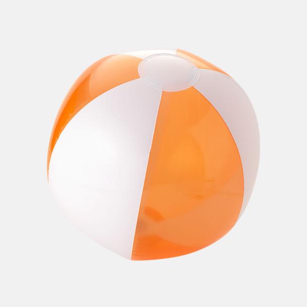 Transparent Orange/Vit Uppblåsbara, randiga badbollar med eget reklamtryck
