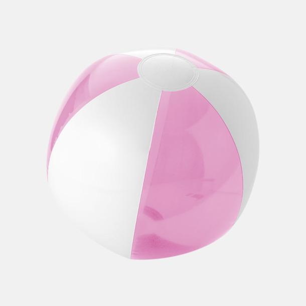Transparent Rosa/Vit Uppblåsbara, randiga badbollar med eget reklamtryck