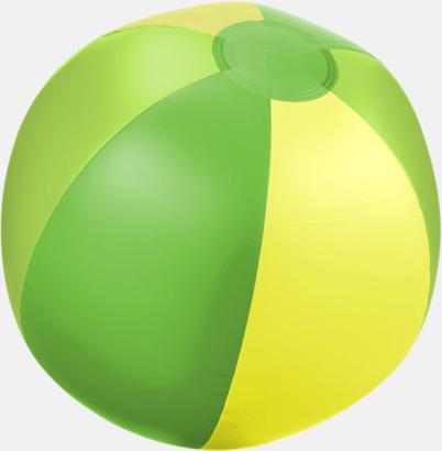 Grön (trefärgad) Uppblåsbara, randiga badbollar med eget tryck