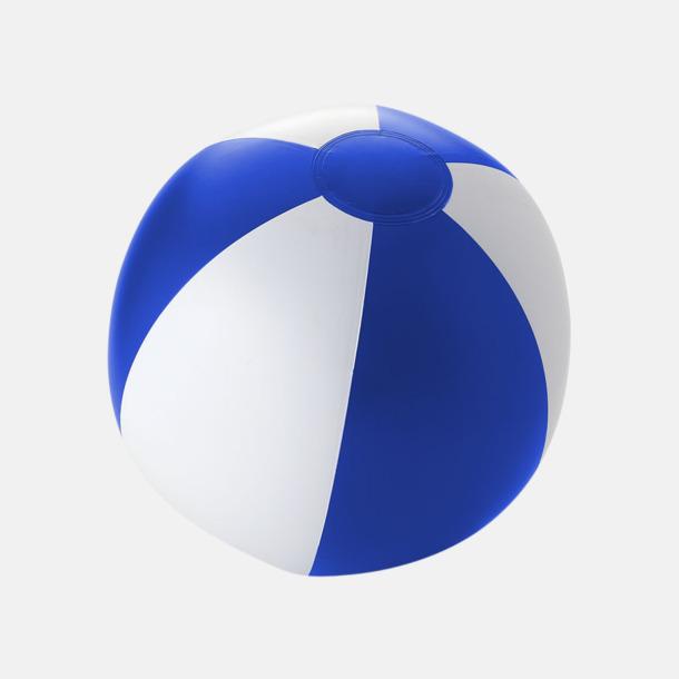 Solid Royal/Vit Uppblåsbara, randiga badbollar med eget reklamtryck