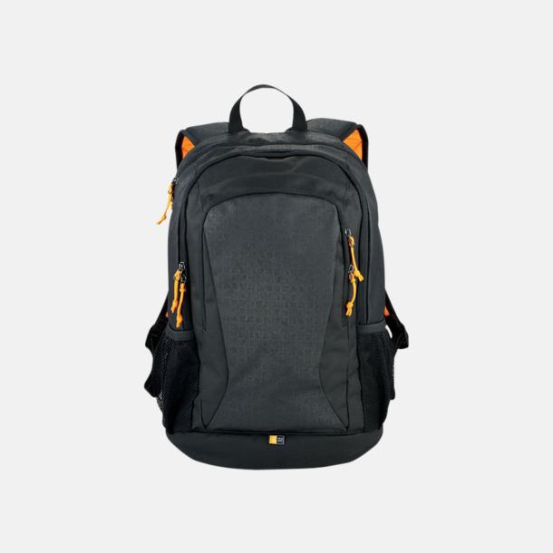 Svart / Orange Sportig ryggsäck för laptop & surfplatta med eget tryck