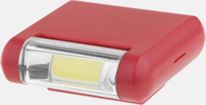 Röd Starka ficklampor med klips - med reklamtryck