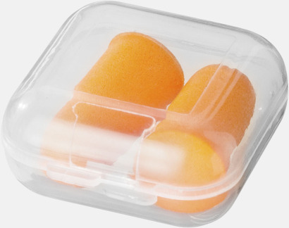 Orange Öronproppar i reseetuier med reklamtryck