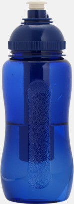 Blå 50 cl-vattenflaskor med kylstavar med reklamtryck