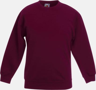 Burgundy Klassiska sweatshirt tröjor för barn - med reklamtryck