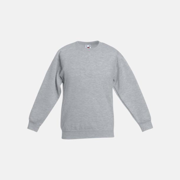 Heather Grey Klassiska sweatshirt tröjor för barn - med reklamtryck