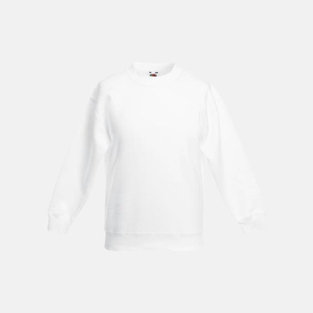 Vit Klassiska sweatshirt tröjor för barn - med reklamtryck