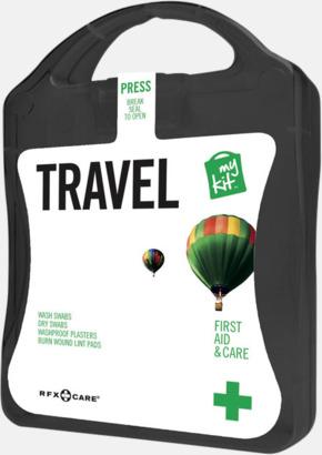 Svart Första hjälpen-kit för resan - med reklamtryck
