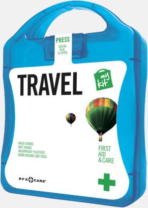 Blå Första hjälpen-kit för resan - med reklamtryck