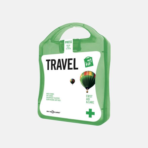 Grön Första hjälpen-kit för resan - med reklamtryck