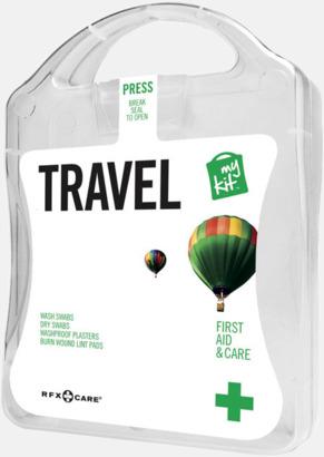 Vit Första hjälpen-kit för resan - med reklamtryck