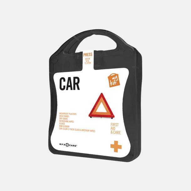 Svart Första hjälpen-kit att ha i bilen - med reklamtryck