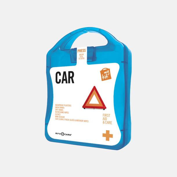 Blå Första hjälpen-kit att ha i bilen - med reklamtryck