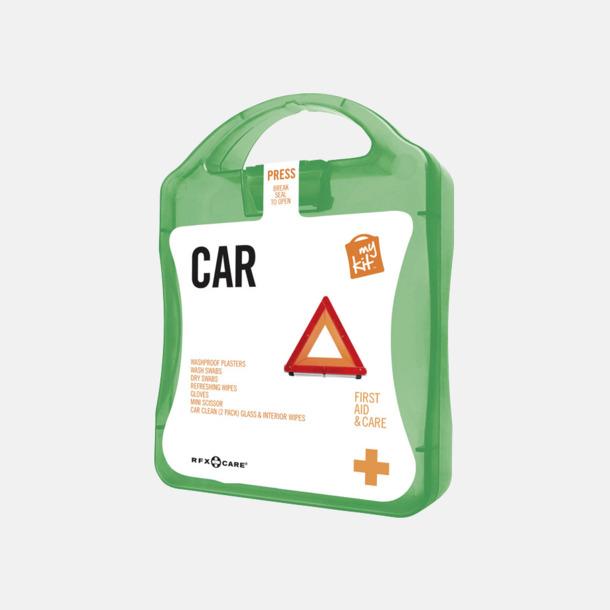 Grön Första hjälpen-kit att ha i bilen - med reklamtryck