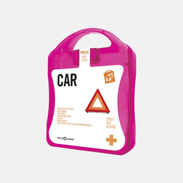 Magenta Första hjälpen-kit att ha i bilen - med reklamtryck