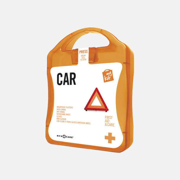 Orange Första hjälpen-kit att ha i bilen - med reklamtryck
