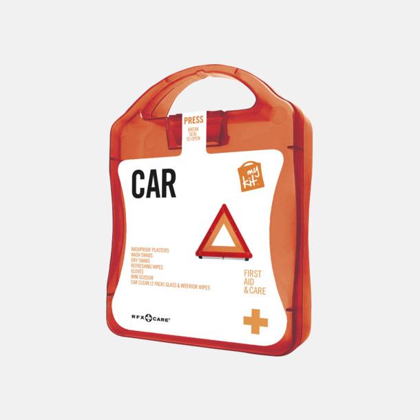 Röd Första hjälpen-kit att ha i bilen - med reklamtryck