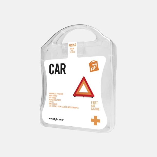 Vit Första hjälpen-kit att ha i bilen - med reklamtryck