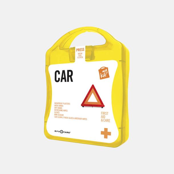 Gul Första hjälpen-kit att ha i bilen - med reklamtryck