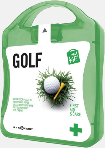 Grön Plåster, solkräm & annat för golfaren - med reklamtryck