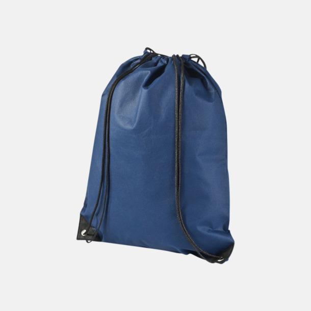 Marinblå Fina gympsapåsar i non woven-material med reklamtryck