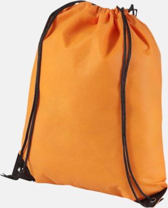 Orange Fina gympsapåsar i non woven-material med reklamtryck