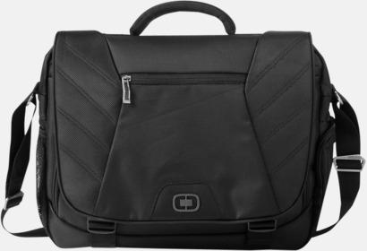 """Svart 17"""" datoväska med reklamtryck"""