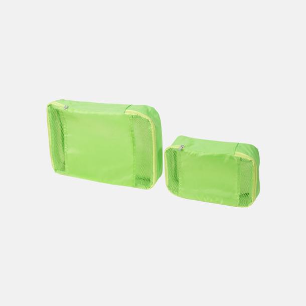 Limegrön 2 st förvaringsväskor med reklamtryck