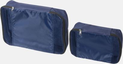Marinblå 2 st förvaringsväskor med reklamtryck