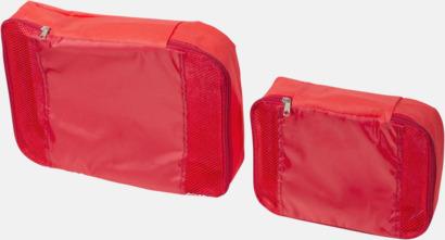 Röd 2 st förvaringsväskor med reklamtryck
