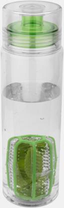 Transparent / Limegrön Vattenflaskor med behållare - med reklamtryck