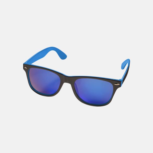 Blå / Svart Billiga solglasögon med reklamtryck