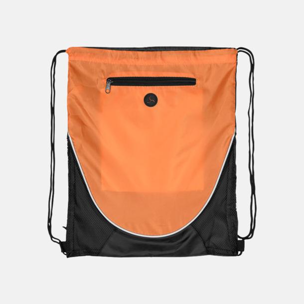 Orange/Svart (tom) Gympapåsar med hörlursutgång - med reklamtryck