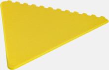 Triangelformade isskrapor i många färger med reklamtryck