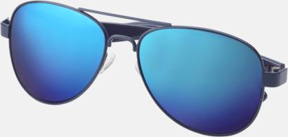 Blå Spegelblanka solglasögon med reklamtryck