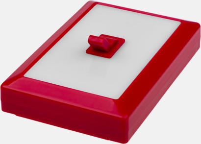 Röd Lampa som ser ut som en strömbrytare med reklamtryck