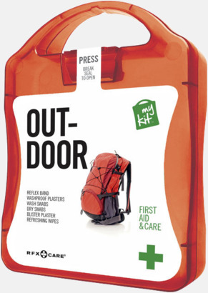 Röd Första hjälpen-kit för vildmarken - med reklamtryck