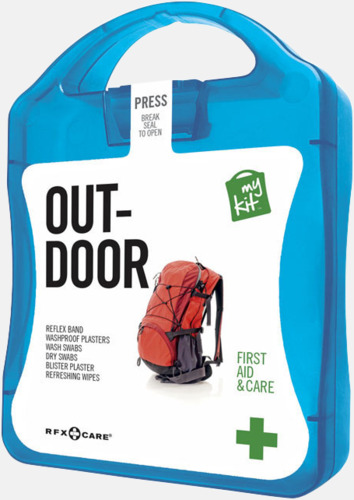 Blå Första hjälpen-kit för vildmarken - med reklamtryck