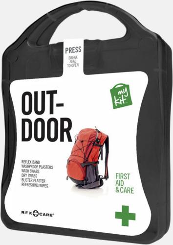 Svart Första hjälpen-kit för vildmarken - med reklamtryck