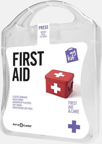 Vit Första hjälpen-kit med reklamtryck