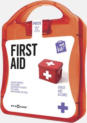 Röd Första hjälpen-kit med reklamtryck