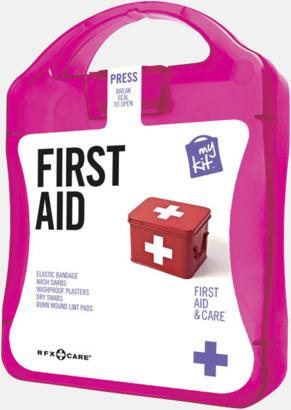 Magenta Första hjälpen-kit med reklamtryck