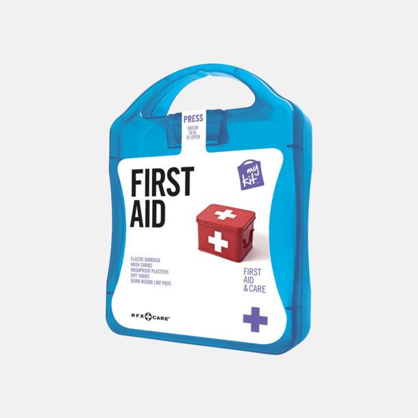 Blå Första hjälpen-kit med reklamtryck