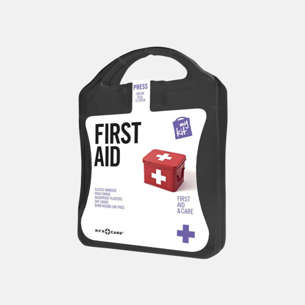 Svart Första hjälpen-kit med reklamtryck