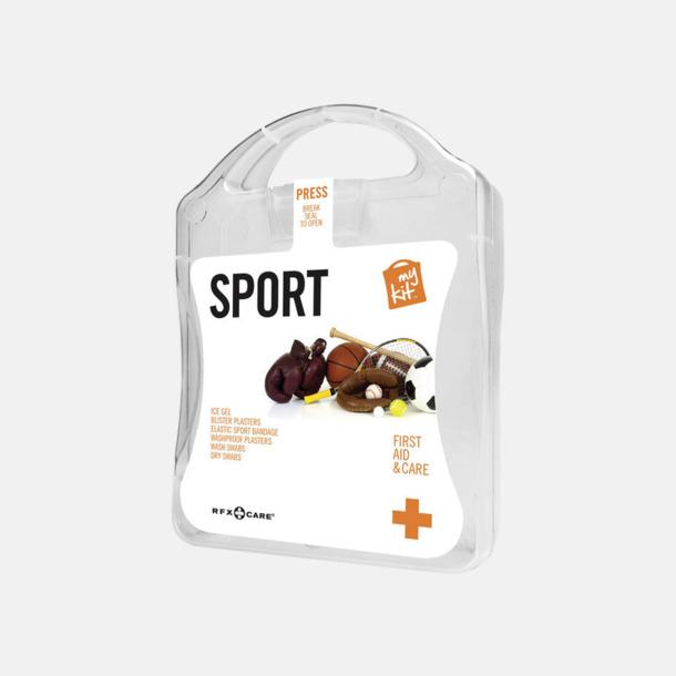 Vit Första hjälpen-sportutgåva med reklamtryck