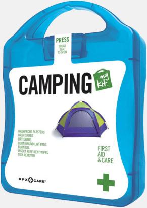 Blå Första hjälpen-kit för camparen - med reklamtryck