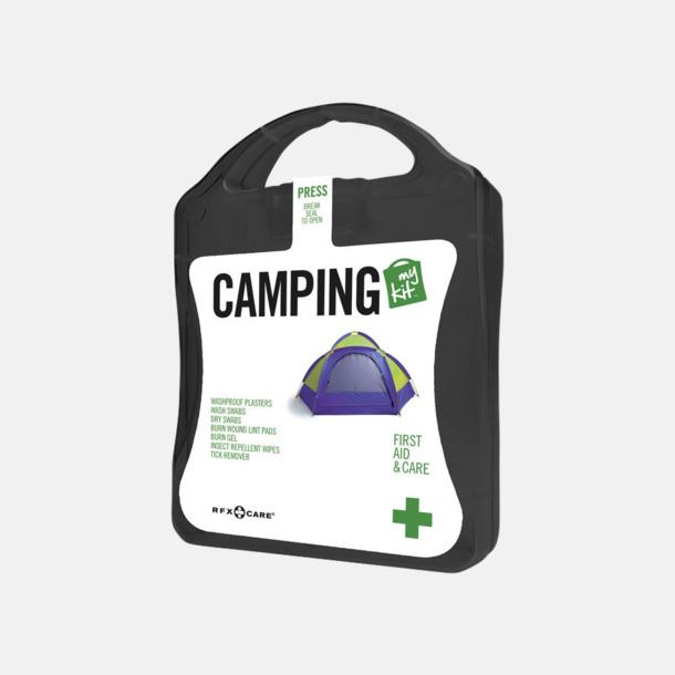 Svart Första hjälpen-kit för camparen - med reklamtryck